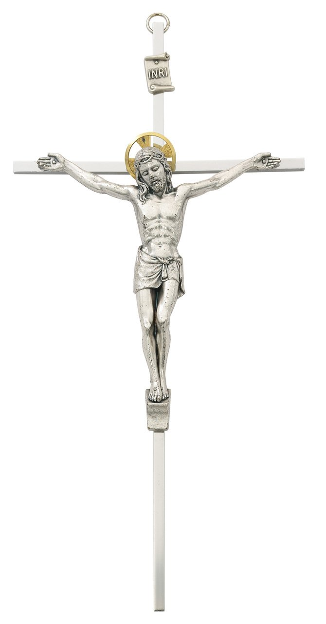 McVan Silver Crucifix w Gold Halo – 10 inch