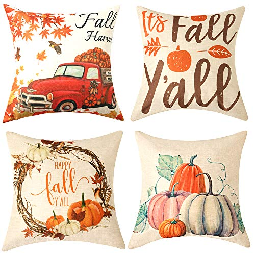 WLNUI Set of 4 Pillow Covers,Fall Cotton Linen Throw Pillow Covers,Maple Leaf Autumn Theme Decor Pillow Cushion Cases for Sofa, Couch, Bed and Car, 18x18 Inch 45x45 cm (Red)
