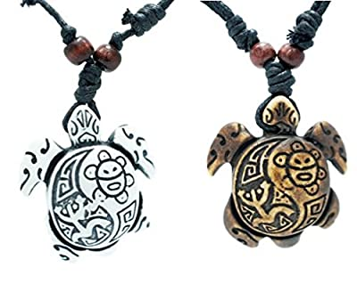 Exoticdream Turtle Necklace Yin Yang Coqui Taino Sun with Cotton Cord