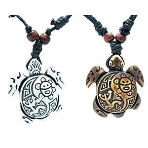 exoticdream Turtle Necklace Yin Yang Coqui Taino Sun with Cotton Cord