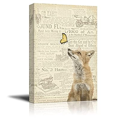 Vintage Newspaper Butterfly And Fox - Canvas Art