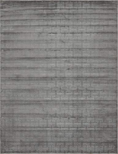 Unique Loom Uptown Collection by Jill Zarin Collection Textured Solid Geometric Modern Gray Area Rug (8' 0 x 10' 0)