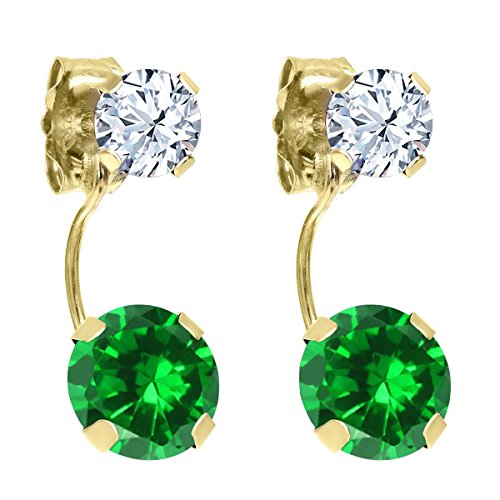 3.66 Ct Round Green Simulated Emerald White Topaz 14K Yellow Gold Earrings by Gem Stone King