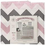 My Baby Sam Chevron Curtain Valance, Pink/Gray