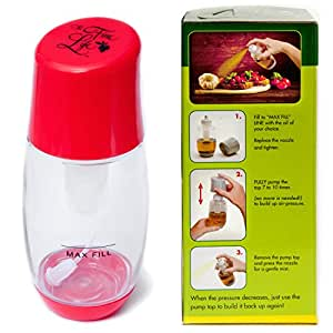 Ideal Olive Oil Mister Sprayer - Air Pressure Only Clog-Free Sprayer by The Fine Life - Red