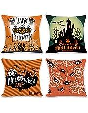 Halloween kussenslopen - 4 stuks Halloween Spooky kussenslopen Happy Halloween decoraties indoor zoete of zure Halloween Party Favors slaapbank kussensloop (46 x 45 cm)