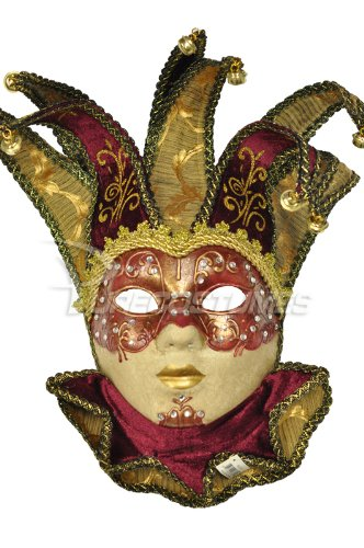 Majestic Mardi Gras Mask - Pure Seasons Majestic Jolly Mask (Red)-Standard