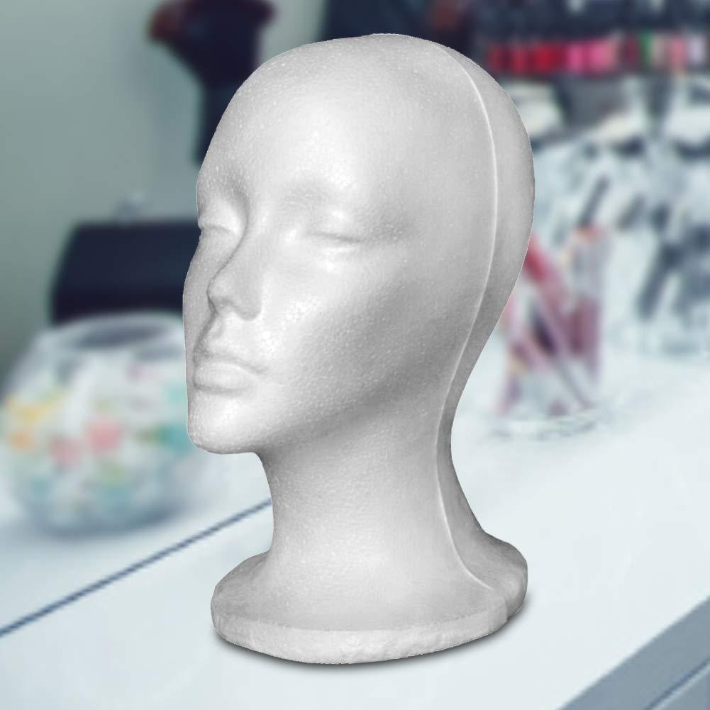 lEIsr00y 2pcs Female Styrofoam Head Wig Head Mannequin Manikin Head Model Headwear Display Headpieces Wigs Caps Glasses Display Stand