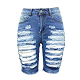 THUNDER STAR Womens Denim Ripped Bermuda Shorts Distressed Knee Length Stretch Short Jeans Blue3 L