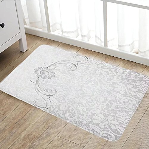 Silver door mat outside Lace Inspired Flourish Motifs Background with Bridal Flower Border Wedding Theme Bathroom Mat for tub Non Slip16