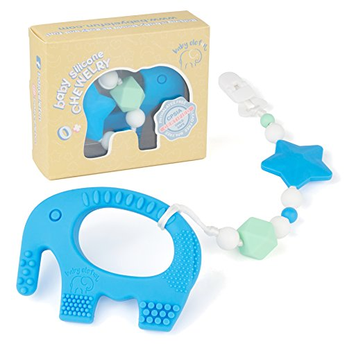 Teething Pain Relief Toy and Universal Pacifier Clip for Stylish Little Girl or Boy - Blue Elephant Teether and Binky Holder Set - Best Unique Gift for Easter, Baby Shower - BPA Free Silicone (Set Gift Toy Teether)