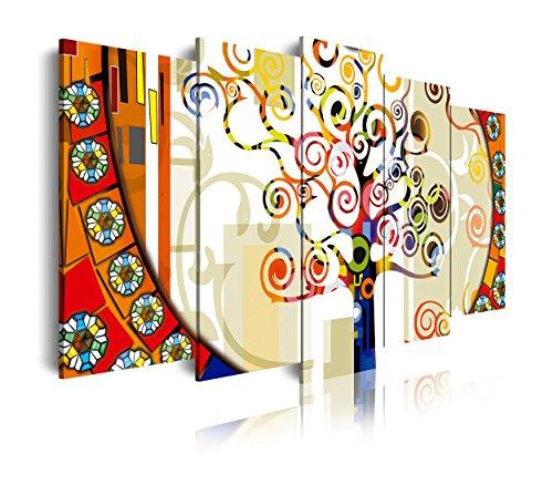 DekoArte 244 - Cuadros Modernos Impresion de Imagen Artistica Digitalizada | Lienzo Decorativo para Tu Salon o Dormitorio | Estilo Abstracto Arbol de la Vida de Gustav Klimt | 5 Piezas 200x100cm XXL