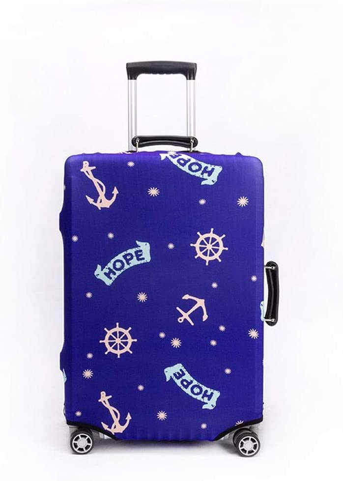 Trolley case Suitcase Cover It Has No Bad Smell Dustproof Wear-Resistant Non-Slip Four Seasons Available Spandex Suitcase Protector for 24-42 inch Elastic Stretch-Blue Bottom Mediterranean Size : S