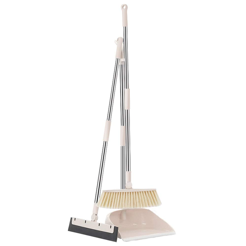 Stainless Steel Rod Soft Brush Broom And Dustpan Extra Long Handle Non-Slip Handle Multi-Function Broom Set HomeKitchen Lobby Floor Schools Cleaning Tools (Color : Beige) by HBKJ3