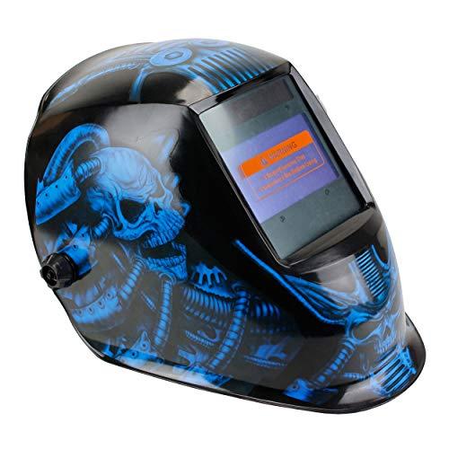 Geelife Solar Powered Welding Helmet Auto Darkening Hood with Adjustable Shade Range 4/9-13 for Mig Tig Arc Welder Mask (Mechanical Skull)