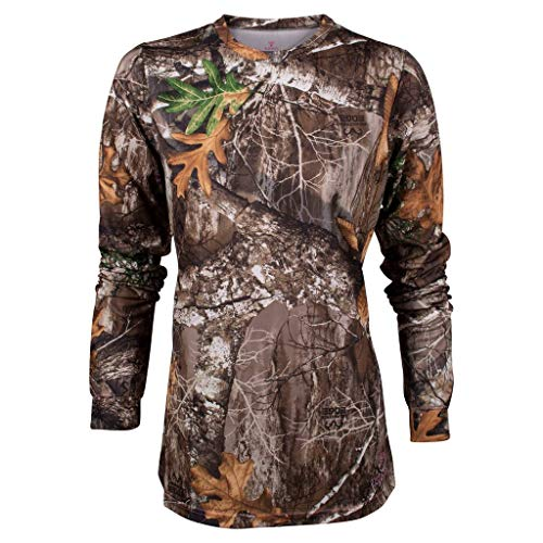 King's Camo Ladies Hunter Series Long Sleeve Camo Tee, Realtree Edge, Large