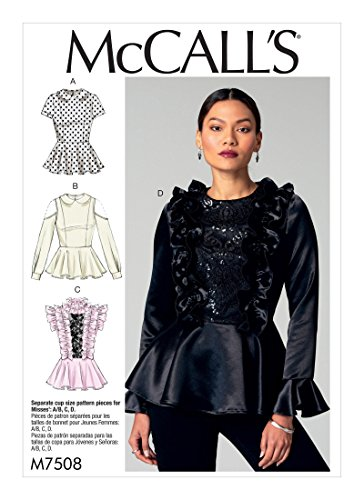 (MCCALLS M7508 Misses' Peplum Tops with Ruffles or Peter Pan Collar (SZ 14-22) SEWING PATTERN)