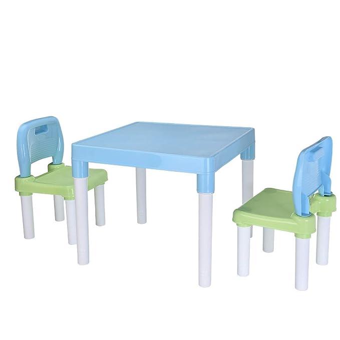 Owill US Shipment, Juego de Mesa de plástico para niños y 2 sillas ...
