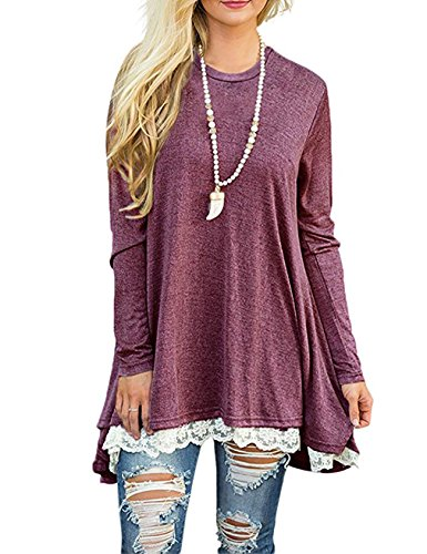 Loose Shirts For Women Trendy Emvanv Soft Surrounding Tunic Plus Size Wine Red S