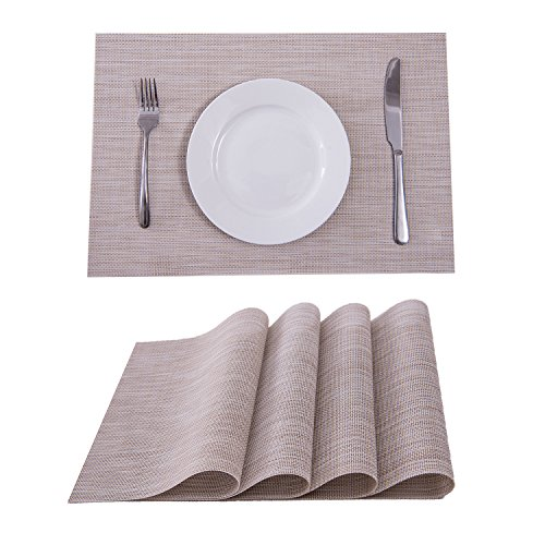 Set of 4 Placemats,Placemats for Dining Table,Heat-resistant Placemats, Stain Resistant Washable PVC Table Mats,Kitchen Table mats(Linen)
