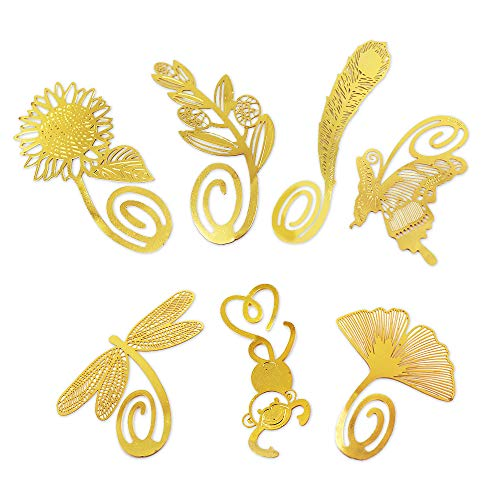 DILIMI Golden Metal Bookmark Clips Creative and Classic Copper Book Accessory(Set of 7) Butterfly,Sunflower,Ginkgo Biloba,Dragonfly,Olive Branch,Monkey,Peacock Feather,Ideal Gift for Friends and Famil ()