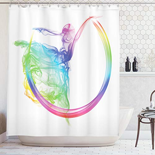 Ambesonne Abstract Home Decor Collection, Smoke Dance Shape Silhouette of Dancer Ballerina Rainbow Colors Fantasy Image, Polyester Fabric Bathroom Shower Curtain Set with Hooks, Blue Aqua Yellow