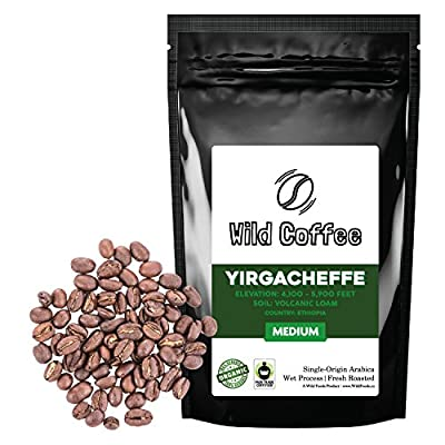 Wild Coffee, Whole Bean Organic Yirgacheffe Coffee, Fair Trade, Single-Origin, 100% Arabica, Austin Fresh Roasted
