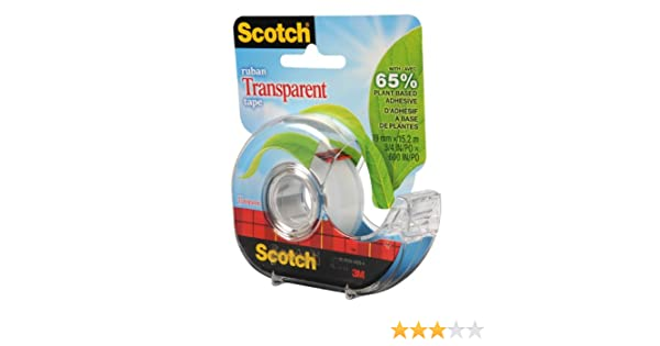 Scotch Tape Transparent Tape Made with 65/% Plant Based Adhesive 19mm Wide x 15.2m 1 Roll with Dispenser