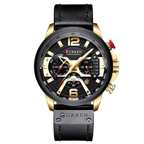 (New Fashion Men's Luxury Chronograph Casual Military Black Leather Watch with Calendar Gold)