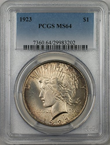 1923 Peace Silver Dollar Coin $1 PCGS MS-64 Toned (2E)