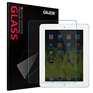Screen Protector for iPad 2/iPad 3/iPad 4, GARUNK Tempered Glass Screen Protector [9H Hardness] [Crystal Clear] [Scratch Resist] [Bubble Free Install] for iPad 2 3 4 Gen 9.7-inch