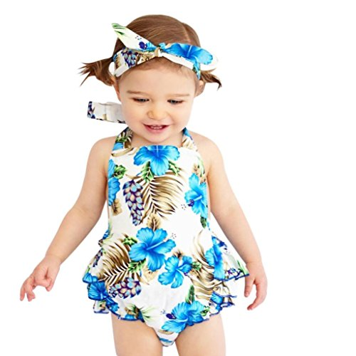 Efaster Infant Baby Girls Floral Print Ruffle Sling Romper+Headbands Outfits Set