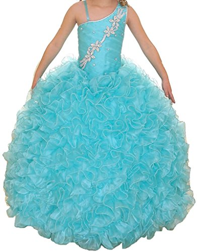 Little Girls One Shoulder Strap Pageant Gown Flowers Girls Dresses Aqua 6 by Dreamer P