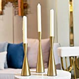 Long Candlesticks holders Tall modern simple Design Metal Candle Holder Candlestick Holder Nordic Living Room Dining Table Creative Retro Decoration Candelabras (S+M+L/SET, Brass)