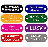 CNATTAGS Pet ID Tags Rivet Shape, 8 Colors, Personalized Premium Aluminum (RIVETS NOT INCLUDED) (Black)