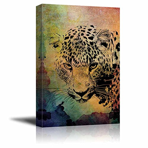 wall26 - Animal Theme Canvas Wall Art - A Leopard on Vintage Abstract Background with Watercolor Splash - Giclee Print Gallery Wrap | Modern Home Decor Stretched & Ready to Hang - 16x24 inches