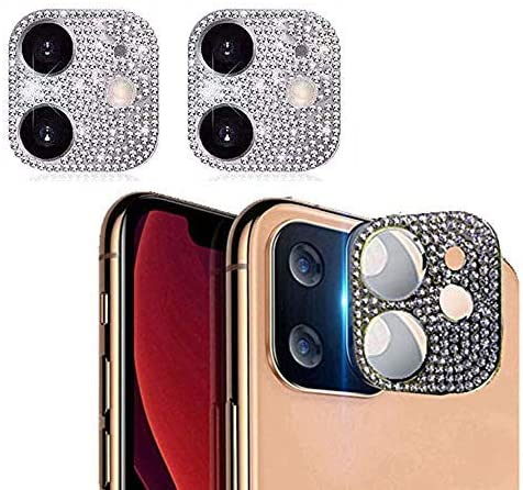 Amazon Com Bling Crystal Camera Lens Protector For Iphone 11 Luowan 2 Pack Rear Camera Cover 3d Bling Diamond Lens Cover Protective Ring Decoration Sticker Protector Iphone 11 Silver Electronics