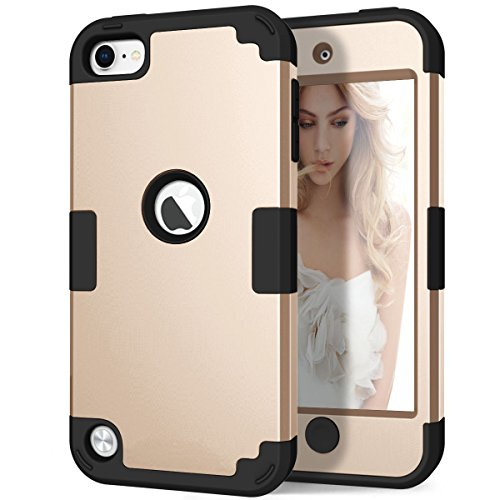 iPod 6th Generation Case, iPod 5th Generation Case, Hocase 3 in 1 Heavy Duty Shock Absorbent Silicone Hard Plastic Full Body Protective Case for iPod Touch 6th/5th Generation - Champagne Gold/Black (Gold Case Touch Ipod)