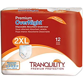 Tranquility Premium Overnight Disposable Absorbent Underwear (DAU) - XXL - 12 ct