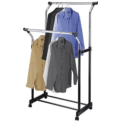 Double Rod Height Adjustable Clothes Rack, Rolling Garment Bars, Chrome Plated - Made in Taiwan