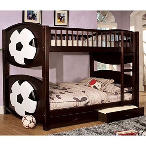 Olympic Soccer Theme Duo Twin Size Bunk Bed w/ Drawers by 247SHOPATHOME