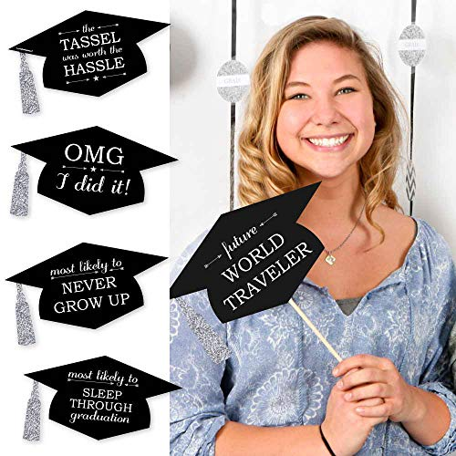 Big Dot of Happiness Silver - Hilarious Graduation Caps - Graduation Photo Booth Props Kit - 20 -