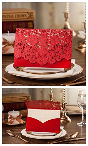 Red Pocket Invitation - Graces Dawn Wedding invitations 50pcs horizontal Laser Cut hollow lace craft invitations (set of 50pcs) (red)