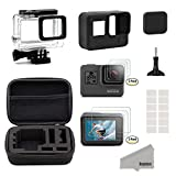Kupton Accessories for GoPro Hero 5 Black Starter Kit Travel Case Small + Housing Case + Screen Protector + Lens Cover + Silicone Protective Case for Go Pro Hero5 Outdoor Sport Kit
