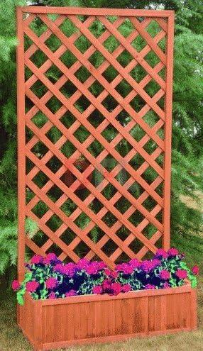 Jardinera con celosía de madera. Dimensiones: 90 x 40 x 180 ...