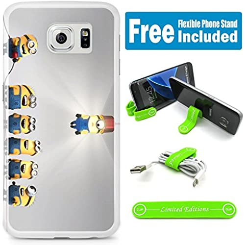[Ashley Cases] TPU Skin Cover Case for Samsung Galaxy S7 with Flexible Phone Stand - Minions Light Up Sales