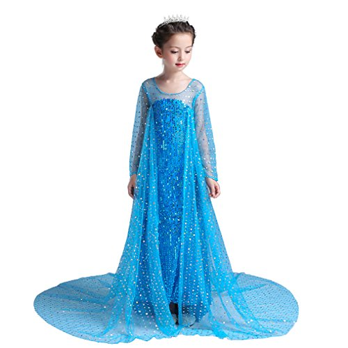 Halloween Costume Ice (Dressy Daisy Girls' Ankle Length Sequined Princess Elsa Costumes Princess Dress Fancy Party Dress Size 8 /)