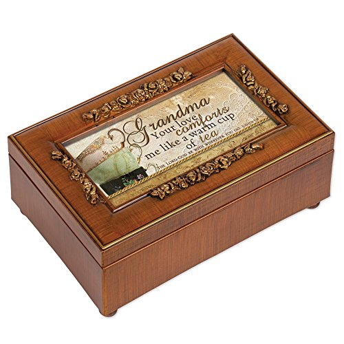 Grandma Love Comforts Teacup Wood Finish Petite Rose Jewelry Music Box Plays Amazing Grace (Cup Petite Rose)