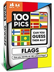 100 PICS World Flags Quiz Card Game - Educational Family Flash Card Travel Puzzle Games for Smart Kids and Adults Learning G