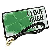 Wallet Clutch I Love Irish Men St. Patrick's Day Large Shamrock with Removable Wristlet Strap Neonblond